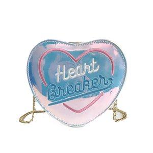 Doces sacos fêmeas 2018 saco de Moda de Nova Bolsa Laser Bordado bonito do coração bolsa de alta qualidade ombro Coin Purse Cadeia Mini Mão
