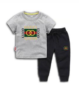 Bebê roupas de grife menino infantil LUIVT crianças pequenas Define T-shirt 2-7T Childrens O pescoço Calças Curtas 2pcs / define Rapazes Meninas puro algodão