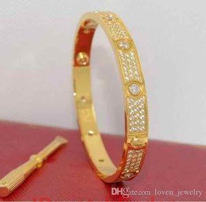 Full Diamond Stainless Steel Bracelet Fashion Womens Mens Couple Bracelets Cuff Bangles Screwdriver Love Jewelry With Velvet Bag