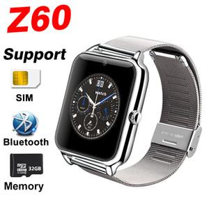 블루투스 스마트 시계 전화 Z60 스테인레스 스틸 지원 SIM TF 카드 카메라 피트니스 추적기 GT08 GT09 DZ09 A1 V8 스마트 IOS 안드로이드