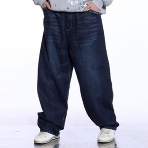 Men's Jeans Men Hiphop Baggy Garment Washed Scratched Design 2021 Mens Blue Skateboarder Denim Pants Plus Size
