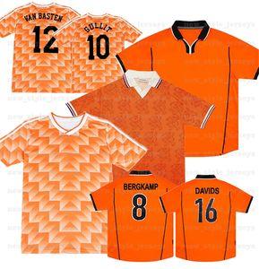 1988 네덜란드 레트로 빈티지 밴 밴덴 태국 축구 유니폼 축구 셔츠 반 Gullit Davids Camiseta Futbol Overmars Bergkamp