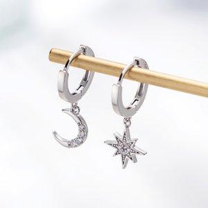 Yıldız Ay Asimetrik 925 Ayar Gümüş Kübik Zirkonya Hoop Küpeler Kadınlar için Moda CZ Daire Kulak Yüzük Küpe Takı