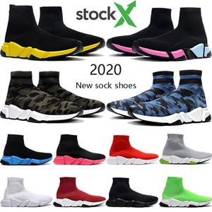 Novo designer de moda tênis Paris velocidade Formadores mulheres dos homens triplos vermelho amarelo preto oreo Camo botas cinza meias plataforma sapatos casuais