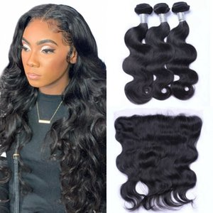 Malaysian Human Hair Body Wave Lace Frontal with Bundles 8-26 inch Virgin Hair Weave 3 Bundles with Frontal
