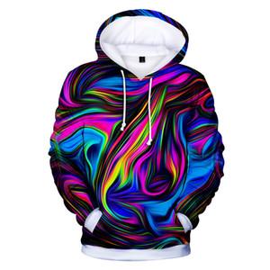 재미 있은 타이 염료 다채로운 인쇄 된 패션 힙합 3D 후드 풀오버 남성 여성 까마귀 까마귀 길어야 긴 소매 3D 두건이있는 스웨터