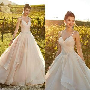 Eddy K 2019 Tallas grandes Vestidos de novia Correas de espagueti Faldas gradas de tul Vestido de novia de playa Vestido de Novia Vestido de novia barato