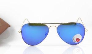 Polarisiert New Gold Fashion Sonnenbrille Pilot Mens / der Frauen 3025 polarisierte Marke Luxus-Brillen 58mm-Blau-Art Sunglass Glas Iridium Kn Vewx