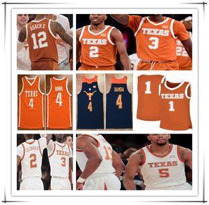 Custom Texas Longhorns 2020 баскетбол колледж Джерси мужчины Мэтт Коулман Эндрю Джонс Кортни Рами Джерико Симс Мохамед Бамба Дюрант 4XL