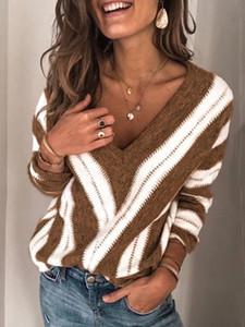 무료 배송 여자의 스웨터 V 넥 느슨한 패션 블루, 브라운 색상 S 5XL 사이즈 스웨터 스트라이프