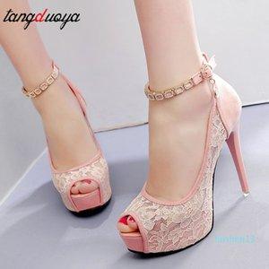 Lace Wedding Shoes Woman Peep Toe High Heels Women Shoes Platform Heels Summer Pumps Women Shoes High Heel Sandals tacones mujer l13