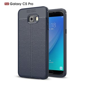 Slim Fit Ultra Thin Carbon Fiber Case for Samsung C5 Pro Leather PU Soft TPU Silicone Rubber Bumper Shockproof Phone Back Cover