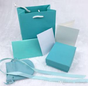 Emballage d'origine Boîte 6 Pièces Lumière verte sans chaîne Ensemble de bijoux Boîte pour Bracelet Collier Bague Boucle d'oreille cadeau