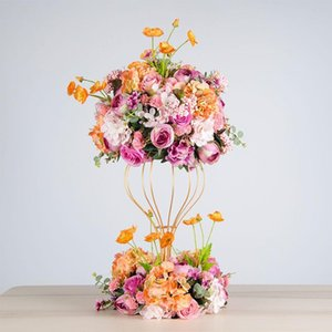 hydrangea simulation artificial flower ball simulation rose grinalth party road lead decoration peony silk flower wedding decorative iron stand frame
