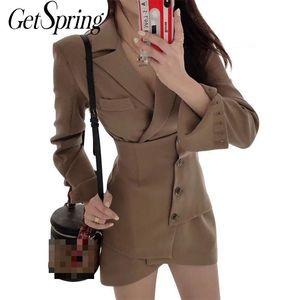 GetSpring Women Blazer Single Breasted Long Sleeve Ladies Blazer Coat Retro Women's Slim Long Suit Jacket Temperament Suit Coat