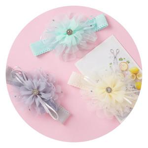 Accessori per capelli Cute Chiffon Flower Elastico Hairband Rhinestone Boutique Faccampe per ragazze nate testa avvolgere copricapo bambino bambino