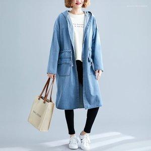 Jean Trench Coats Moda grandes bolsos Jean capuz Casacos fêmeas Womens Vintage Clothing cintura elástica Único Breasted Designer