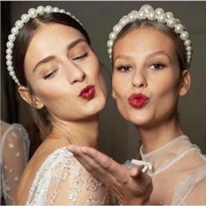 Yeni Vintage İmitasyon İnciler Hairband Kadınlar için Zarif Kafa Saç Tutucu Şapkalar Düğün Parti Saç Hoop Saç Aksesuarları