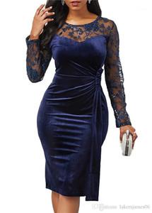 مصمم الدانتيل فساتين كم طويل الرقبة الطاقم مثير أنثى أزياء ملابس حزب نمط عارضة الملابس النسائية الخريف انن
