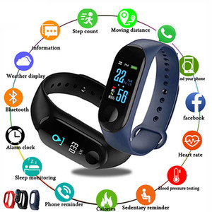 M3 Smart Watch Bracelet Band Fitness tracker Wristband Heart Rate Activity Screen Smart Electronics Bracelet watch for Men Women
