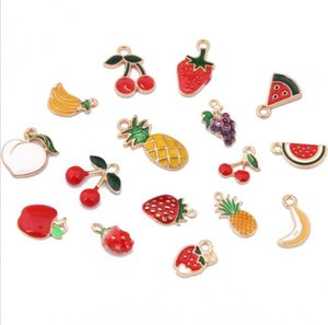 Meyve Emaye kolye Çilek Elma Ananas Muz DIY Kolye Renkli Moda Takı Aksesuar Emaye Bırak Yağı Meyve Aksesuar
