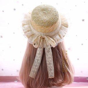 Renda doce Loita Straw Sunhat Ruffled Sun Hat Summer Caps with Bowknot