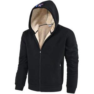 Мужской мода флисовой куртка Hoodie Zipper Sherpa Подкладка Толстовка Мода теплой зима Мужчина Одежда Верхней одежда пальто S-XL