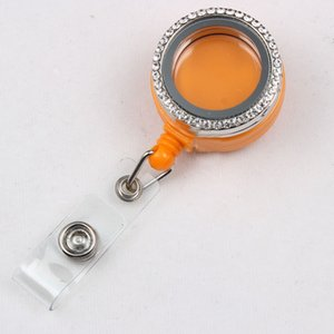Alloy Badge Reel Magnetic Floating Locket With Rhinestone 30mm Living Floating Locket Mix Colors
