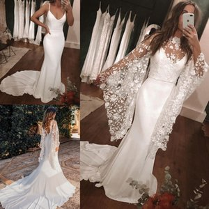 Vintage-Inspired Wedding Dresses 2020 with Detachable Floral Cape Sheath Column Satin robe de mariage Backless vestidos de novia Court Train