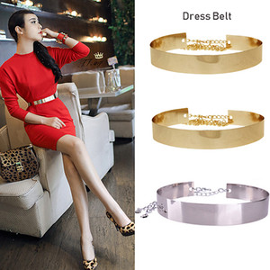 2019 Female Plate Belt Gold Metal Waist Gold Metallic Wide Mirror Band Waistband Chain Accessories Belts For Woman Clothes
