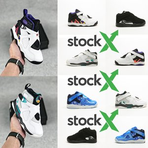 Childrens Jumpman 8 OG Kids Girls Basketball shoes AJ Grape Fire Red Ice Blue University Red Laney Baby Boy Trainers boots 22-35