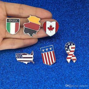 Ulusal bayraklar Emaye Pin Kanadalı Amerikan Alman İtalyan Bayrağı Broş Pin Düğme Şapka Çanta Giyim Yaka Pin Rozeti Takı Hediye DHL TARAFıNDAN