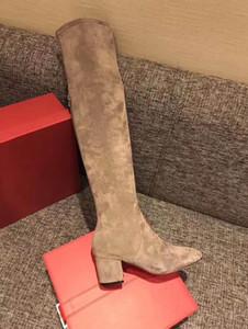 Hot Sale-Farben Leder Oberschenkel hohe sexy dick med Ferse Stiefel Designer Runway Modemarken Modedesigner wome