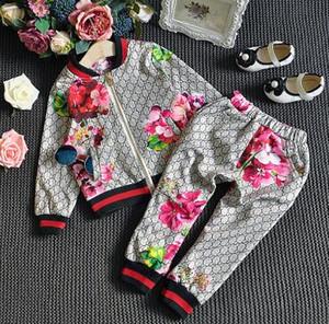 Envío gratis Primavera Nuevo niño niña camiseta Pantalones Traje de dos piezas Ropa de niños Marca Abrigo + Pantalones Ropa Conjuntos