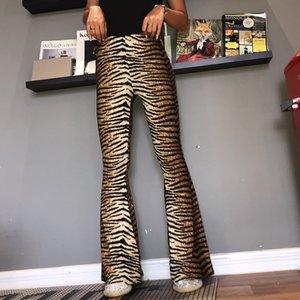 léopard tigre pantalon imprimé 2020 automne femmes d'hiver peau serpent bas cloche sexy pantalon pantalon large taille haute Legging