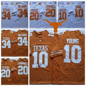 Para hombre de Texas Longhorns Naranja Blanco 10 Vince Young 34 Ricky Williams 20 Earl Campbell Escuela de Fútbol jerseys S-XXXL