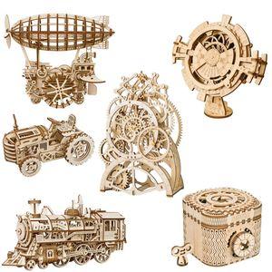 Presentes crianças 3D Puzzle de madeira mecânica Engrenagem Drive Assembly Modelo Brinquedos Plane Feliz Rodada Ferris Wheel Pencil Box Brinquedos Crianças Xmas Brinquedos 04