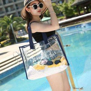 Estate in PVC impermeabile trasparente di grande capienza bag Borse Donna Comestic bagagli Beach