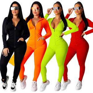 Femmes Plus Size Survêtement Veste + uni Leggings deux pièces Tenues Set Sweats à capuche + Collants de sport S-3XL Automne Hiver Vêtements Survêtement 1655