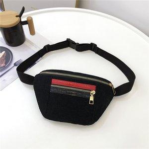 new Fashion Chest Bag Waist Packs Women Girl Hit Color Zipper Corduroy Messenger Bag Chest Waist bags