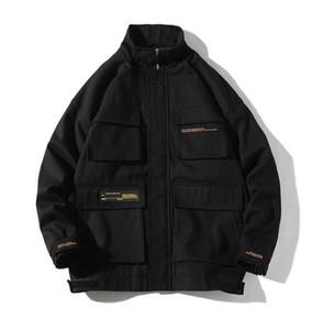Diseñador chaquetas casuales para hombre del collar del soporte de carga Abrigos para hombre flojo Outwear con el botón Mens del resorte del otoño