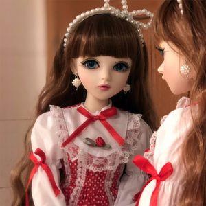 1/3 Girl Dolls with Clothes Wigs Shoes ، جسم متحرك مشترك ، عيون بنية قابلة للاستبدال ، سيليكون كامل BJD Doll مجموعة كاملة