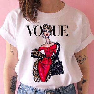 2020SS Señora impresión del o cuello de la camiseta de moda de verano camiseta de las mujeres divertidas camisetas de manga corta casuales Harajuku tes de las tapas lovrly