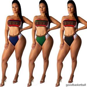 marca donne costumi da bagno sexy bikini 2 pezzi vestiti estivi scenografo pannelli Reggiseno imbottito costume da bagno costume da bagno spiaggia moda plus size 2727