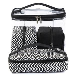 Piece Portable Multi-Function Cosmetic Color Bag Building Coket Комбинированные прозрачные ПВХ Четыре стирки Сумки Смешайте Сумку Xagdj