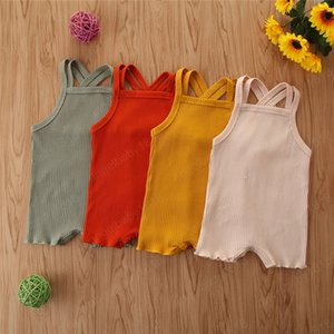 Baby Designer Clothes Kids Solid Suspender Romers Summer Sleeveless Jumpsuits Boys Girls Onesies Bodysuits Infant Climb Clothes
