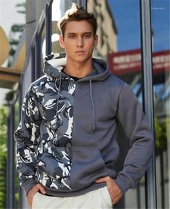 Panelled Mens Designer Hoodies Fashion Loose Big Pocket Mens Hoodies Casual Males Clothing Half Camouflage Print