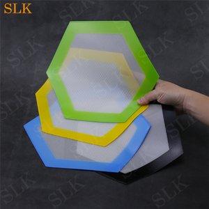 Altıgen şekil silikon mat 13 cm yüksek kaliteli glassfiber dab mat yağ bho konsantre pedleri kaygan balmumu paspaslar FDA onayla ...