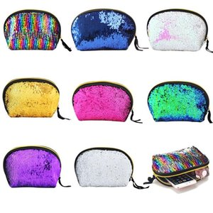 Brillo Bling bolsa de fiesta de embrague Bolsas de almacenamiento 8 colores conchas en forma de concha de colorear Mermaid Mermaid Bolsas de maquillaje cosmético BH0281 TQQ