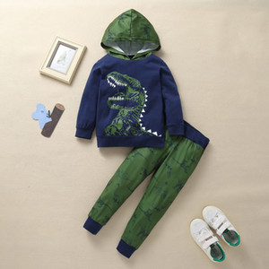 2019 new autumn children's clothing long-sleeved dinosaur hooded suit, boy cotton home service two-piece suit P014